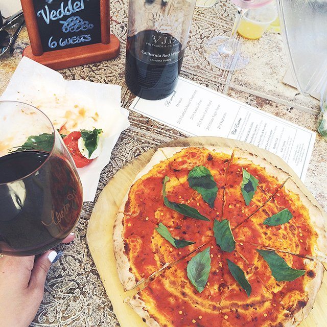 Vegan pizza VJB Winery