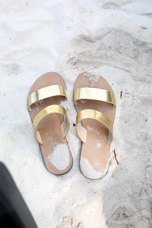 j.crew gold slide sandals