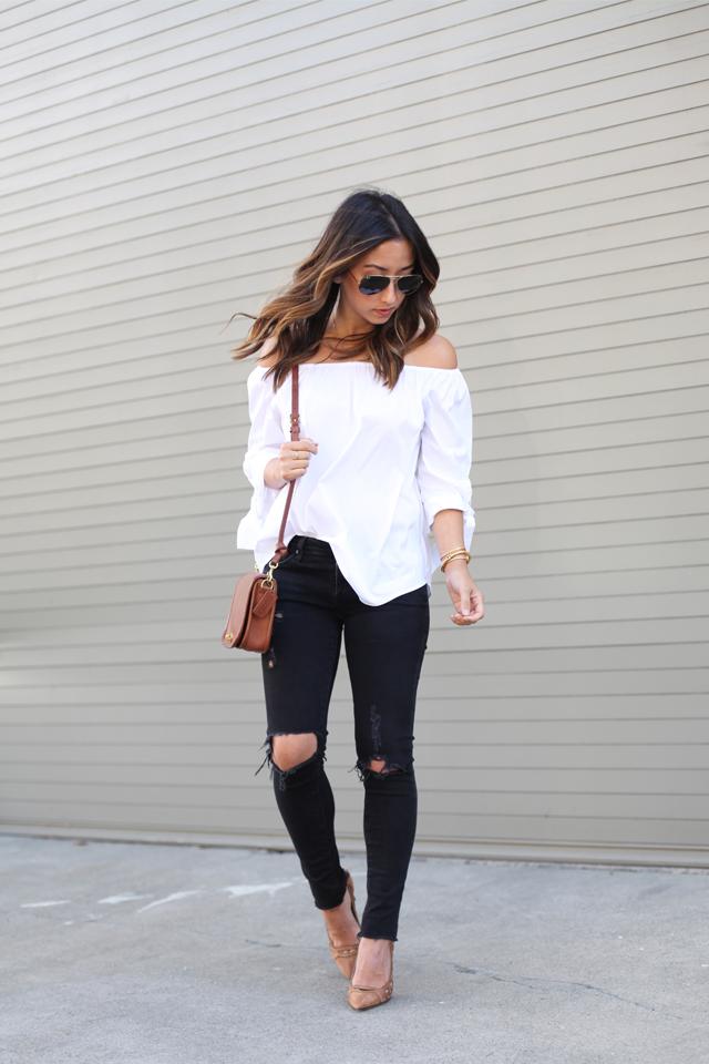 Ag distressed black jeans