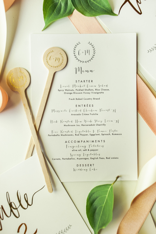Crystalin Marie Wedding Menu by Meghann Miniello