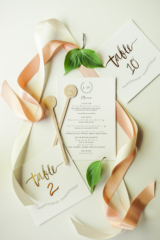 Gold Foil Wedding Table Numbers by Meghann Miniello