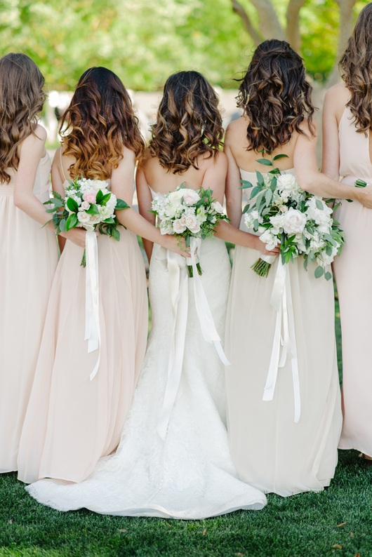 Nude and Blush floor length bridesmaid dresses