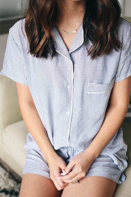 Splendid Classic Short Pajamas navy stripe