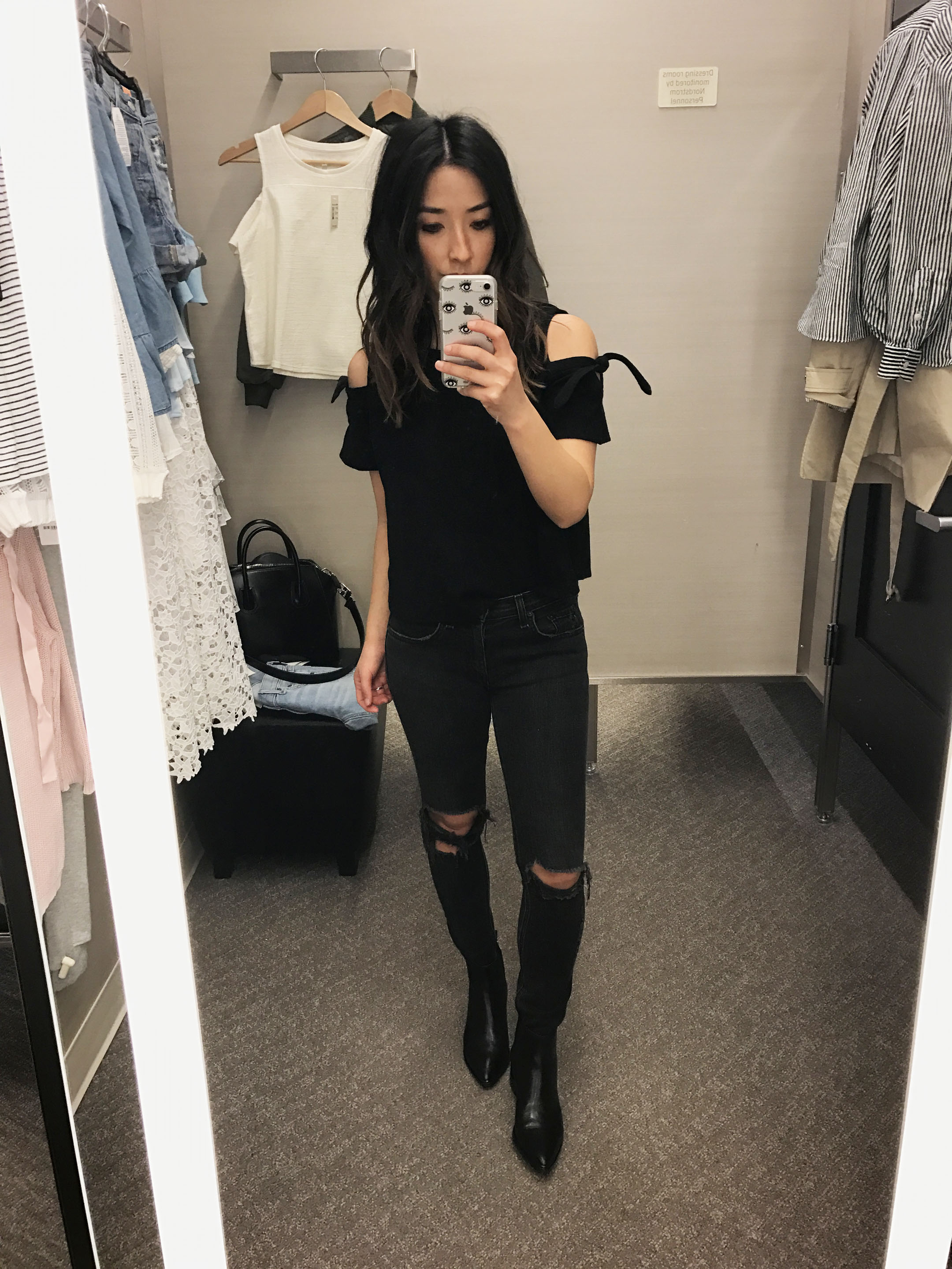 Madewell cold shoulder black top 3