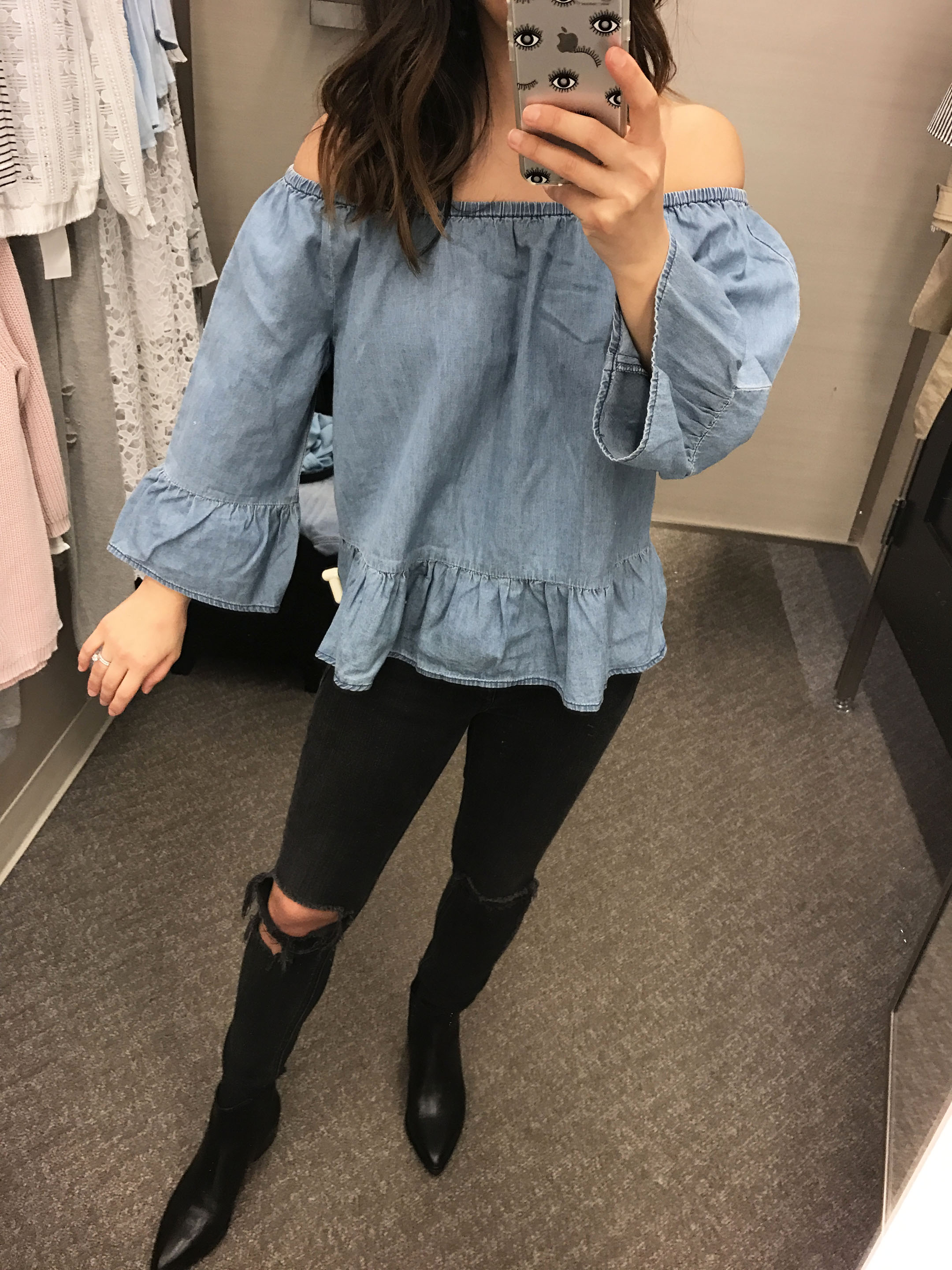cupcakes and cashmere denim off the shoulder top 1