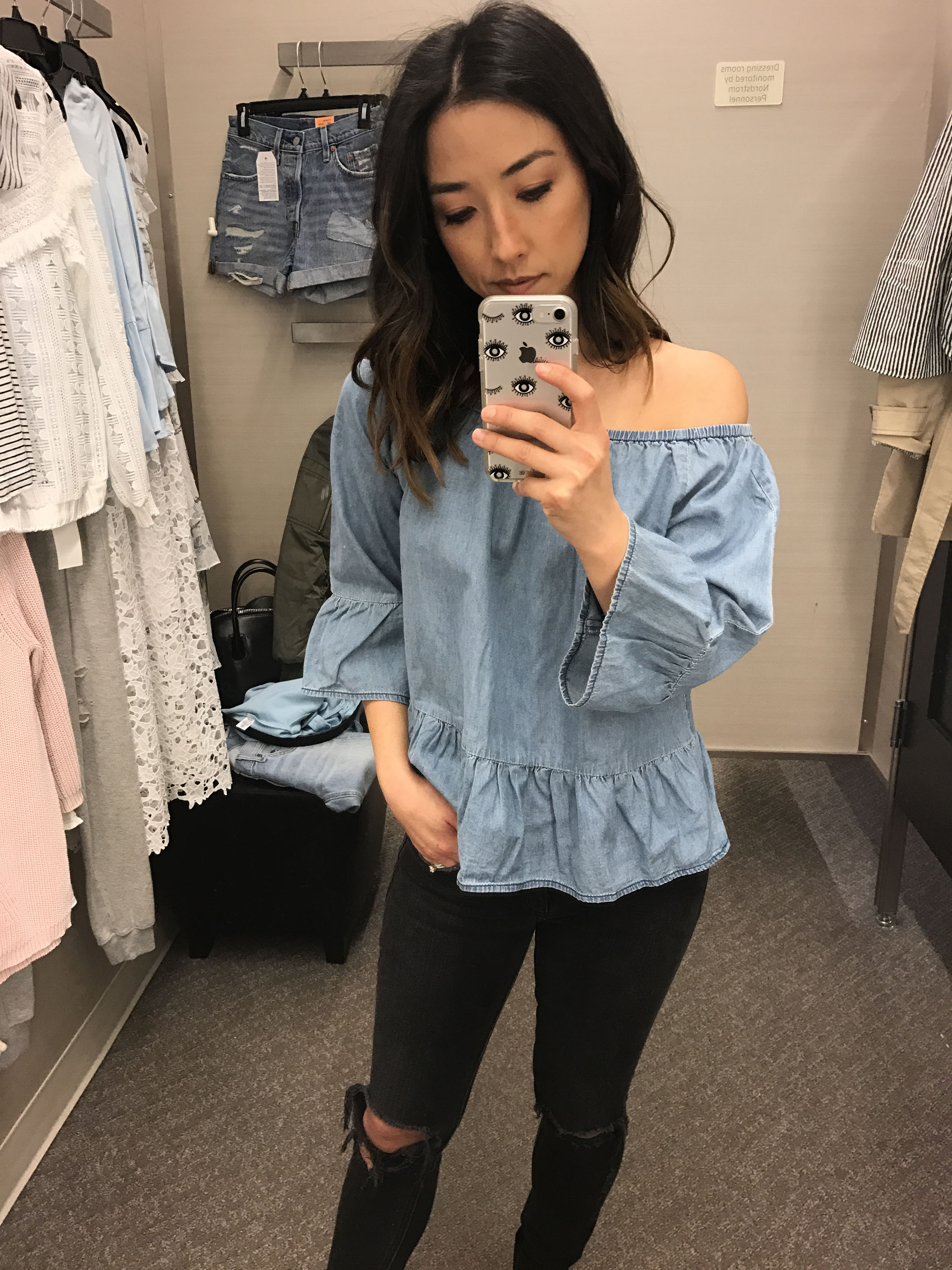 cupcakes and cashmere denim off the shoulder top 3