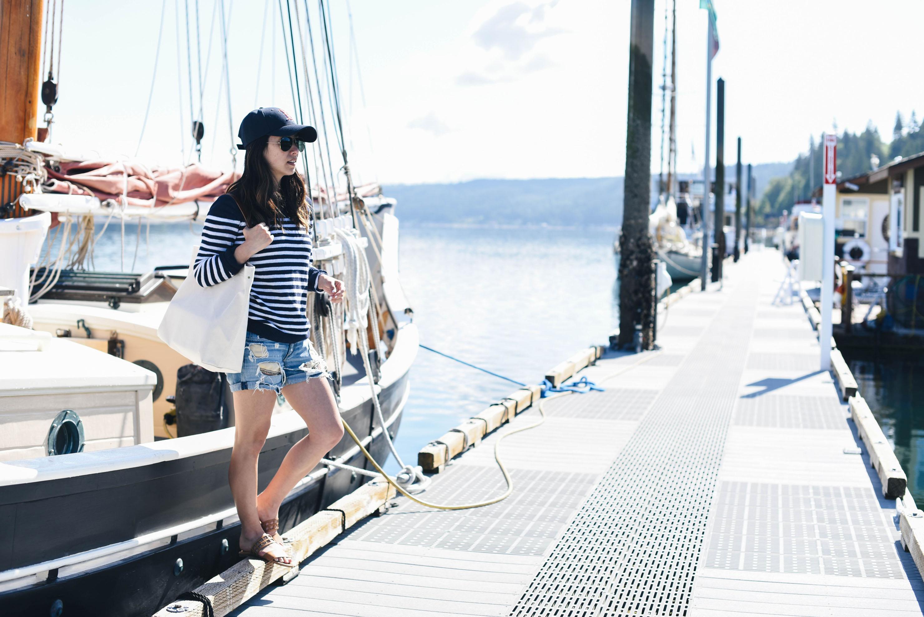 J.Crew Factory navy striped sweater