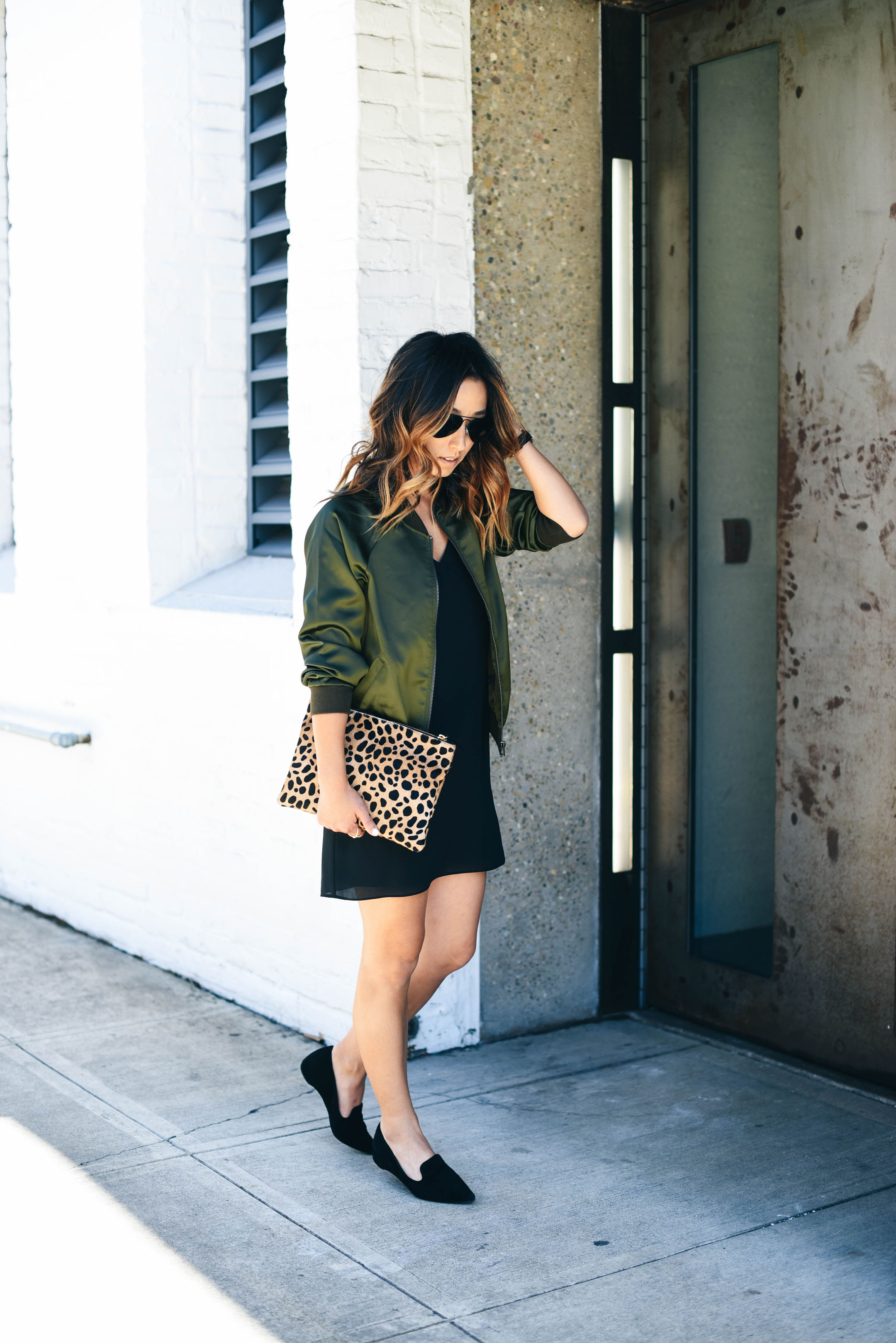 Bomber jacket with slip dress