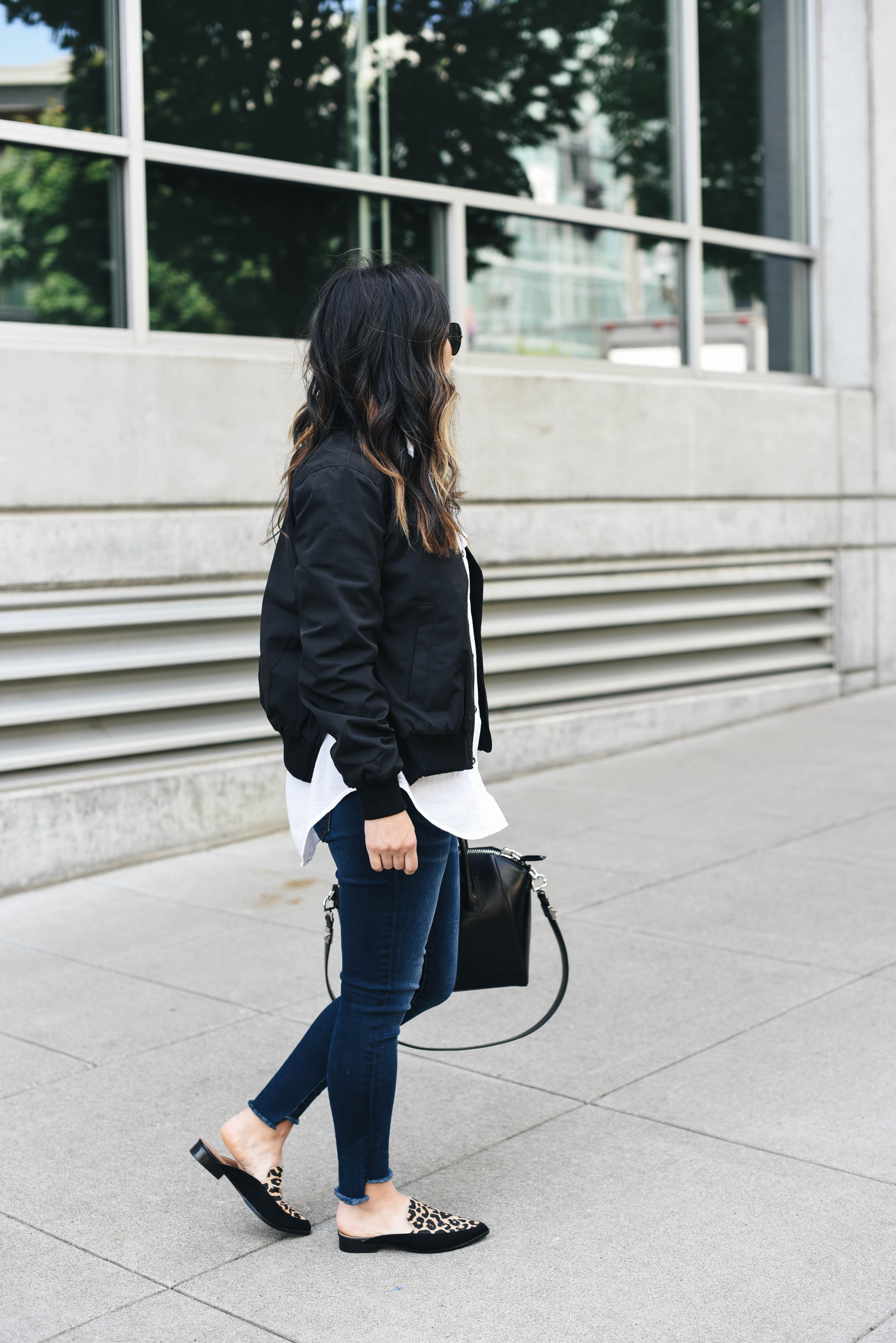 Madewell black bomber jacket with slits