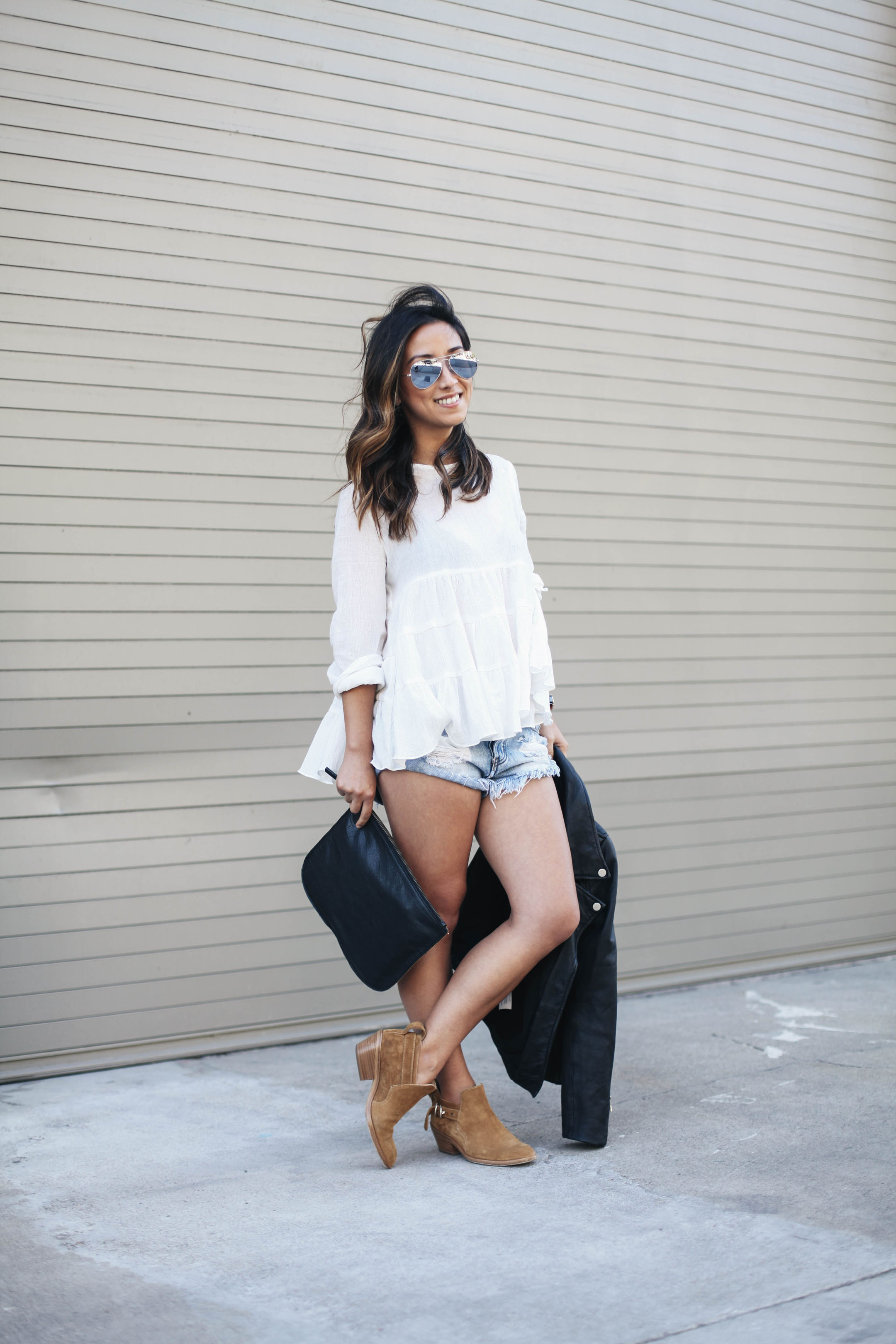 White summer top with ankle booties