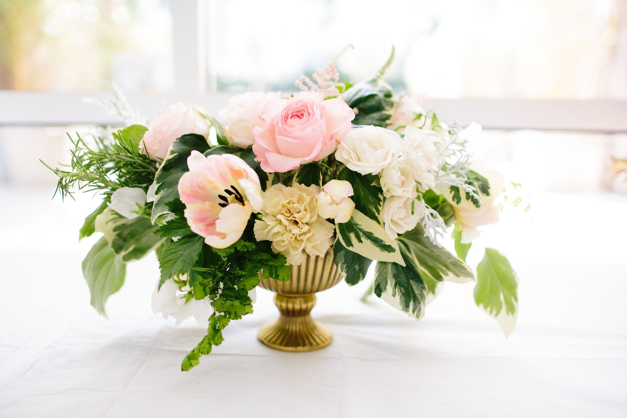 pink white green flower arrangement inspiration