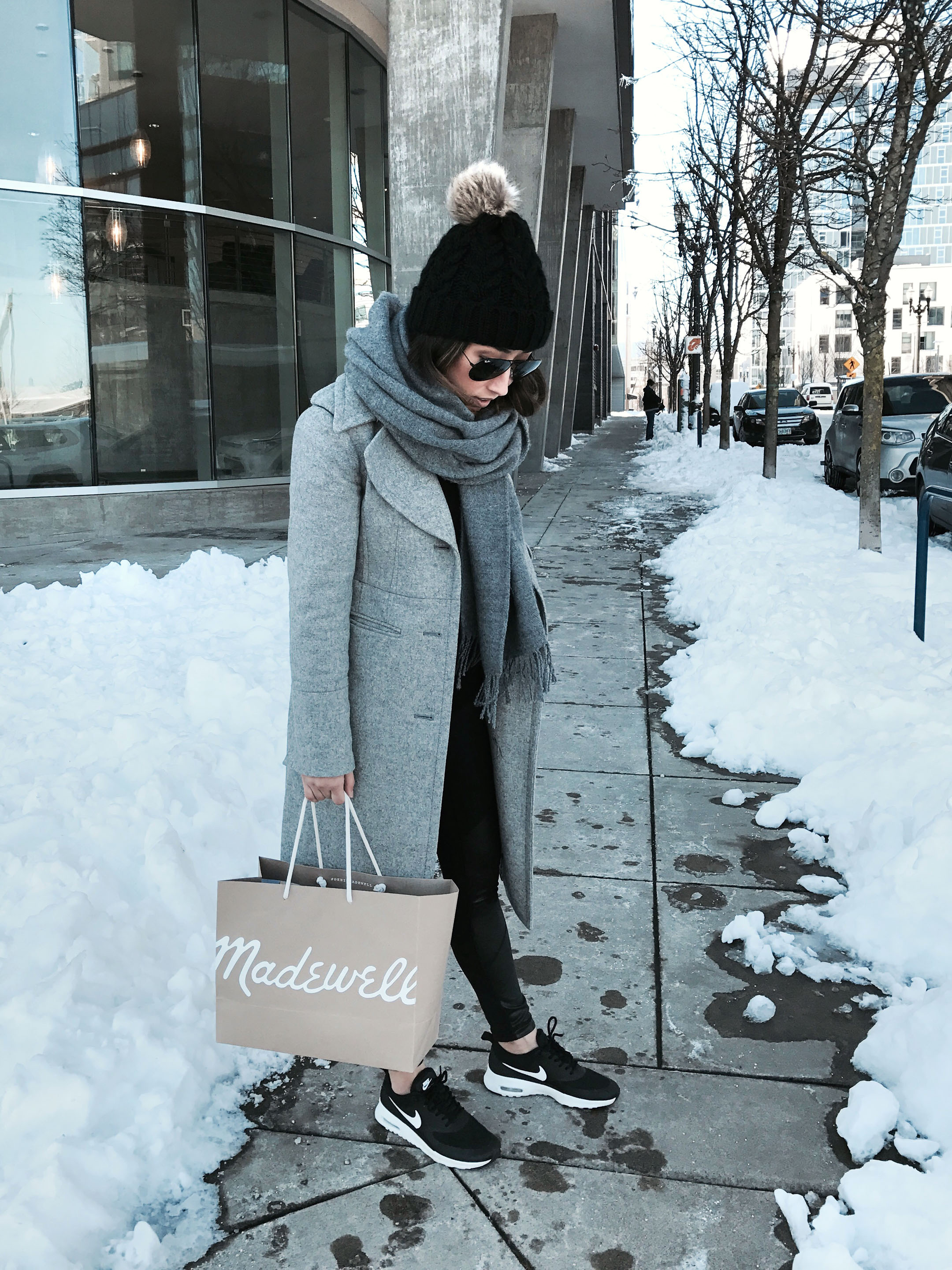 Coat with sneakers