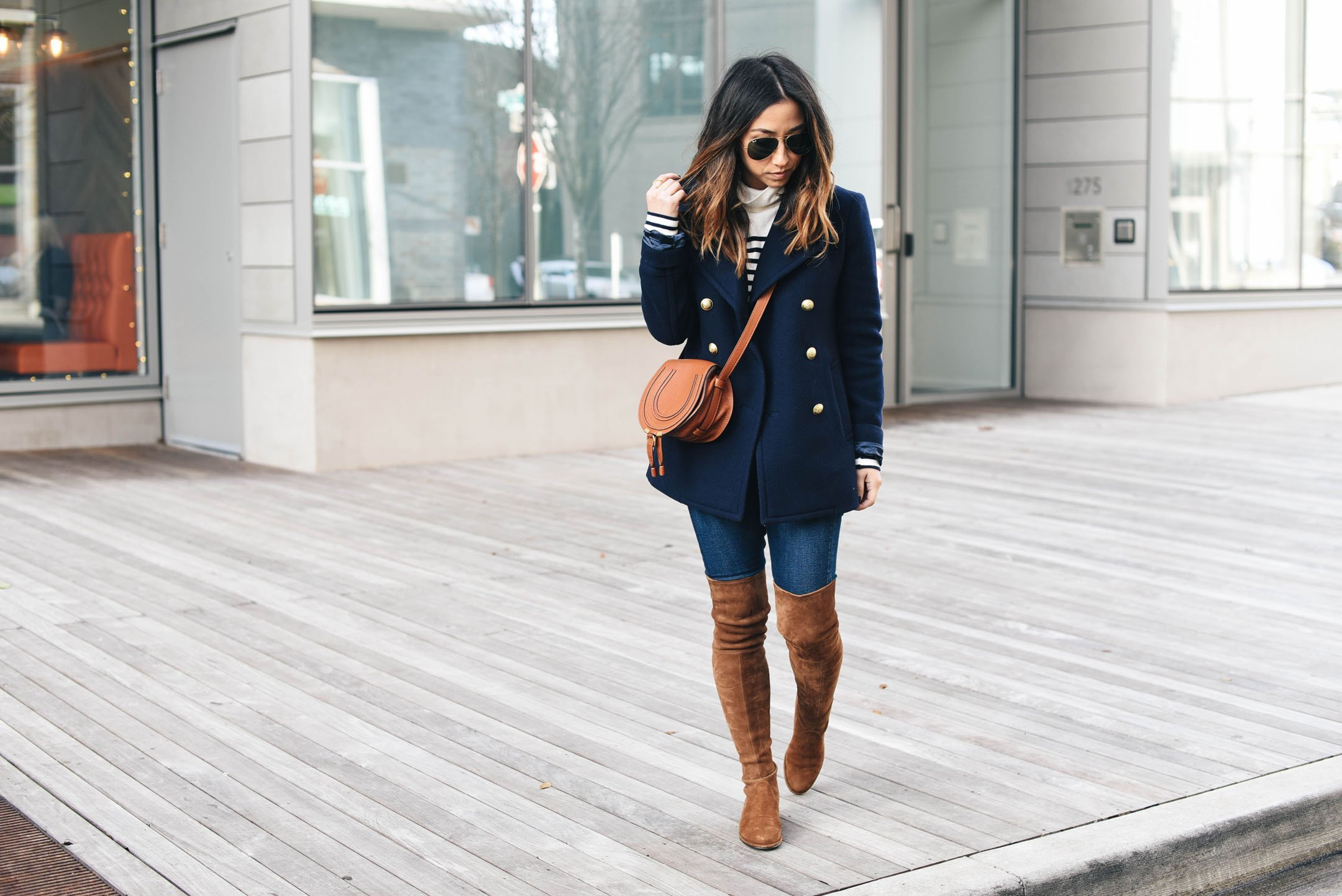 Brown over the knee boots styled