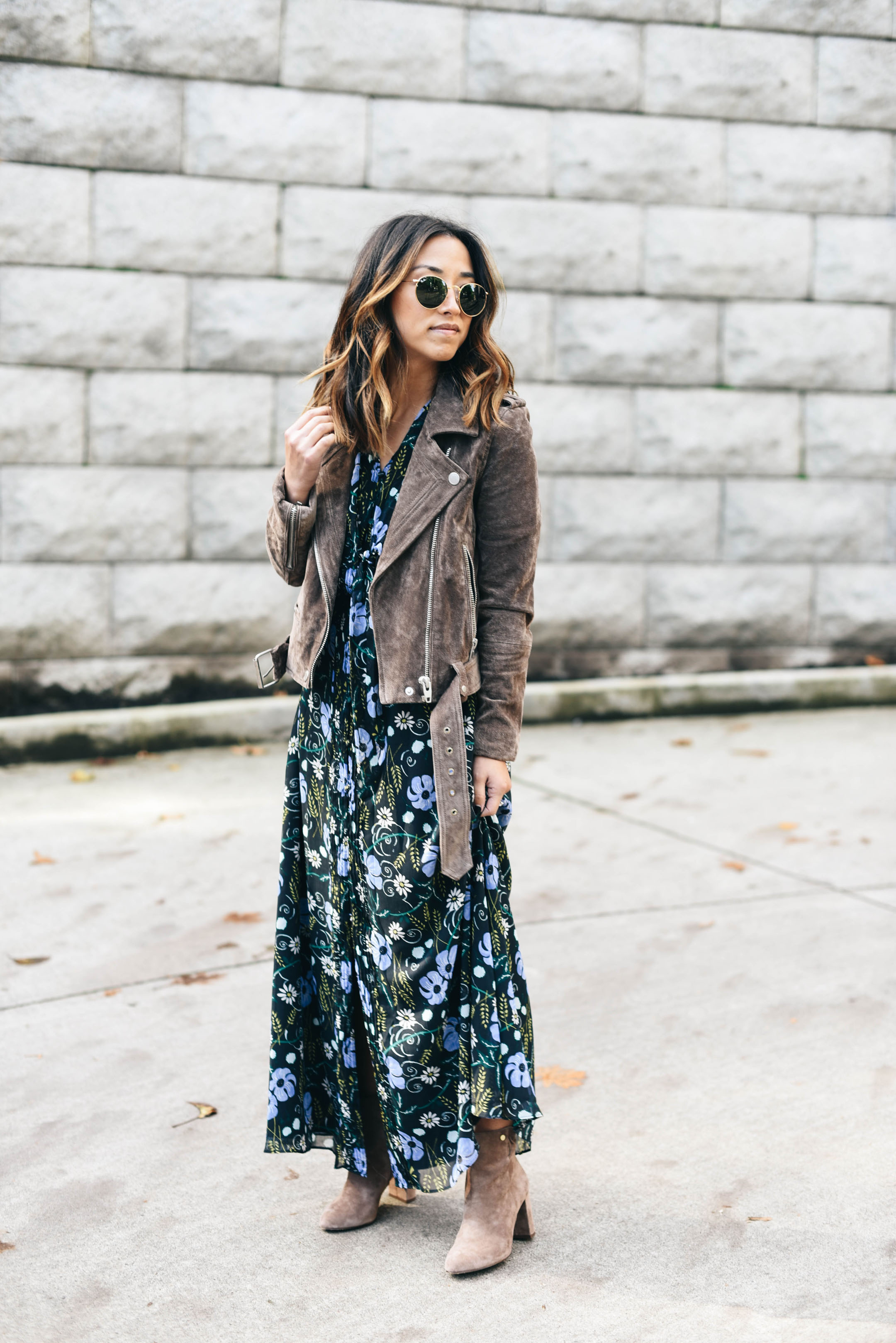 How to wear a floral dress in the fall