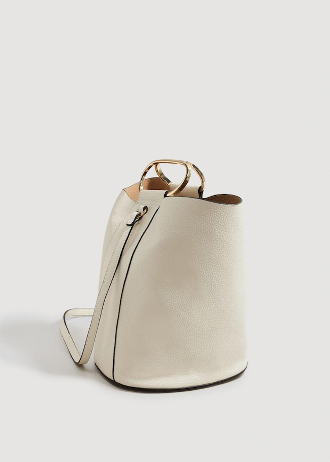 Mango white bucket bag