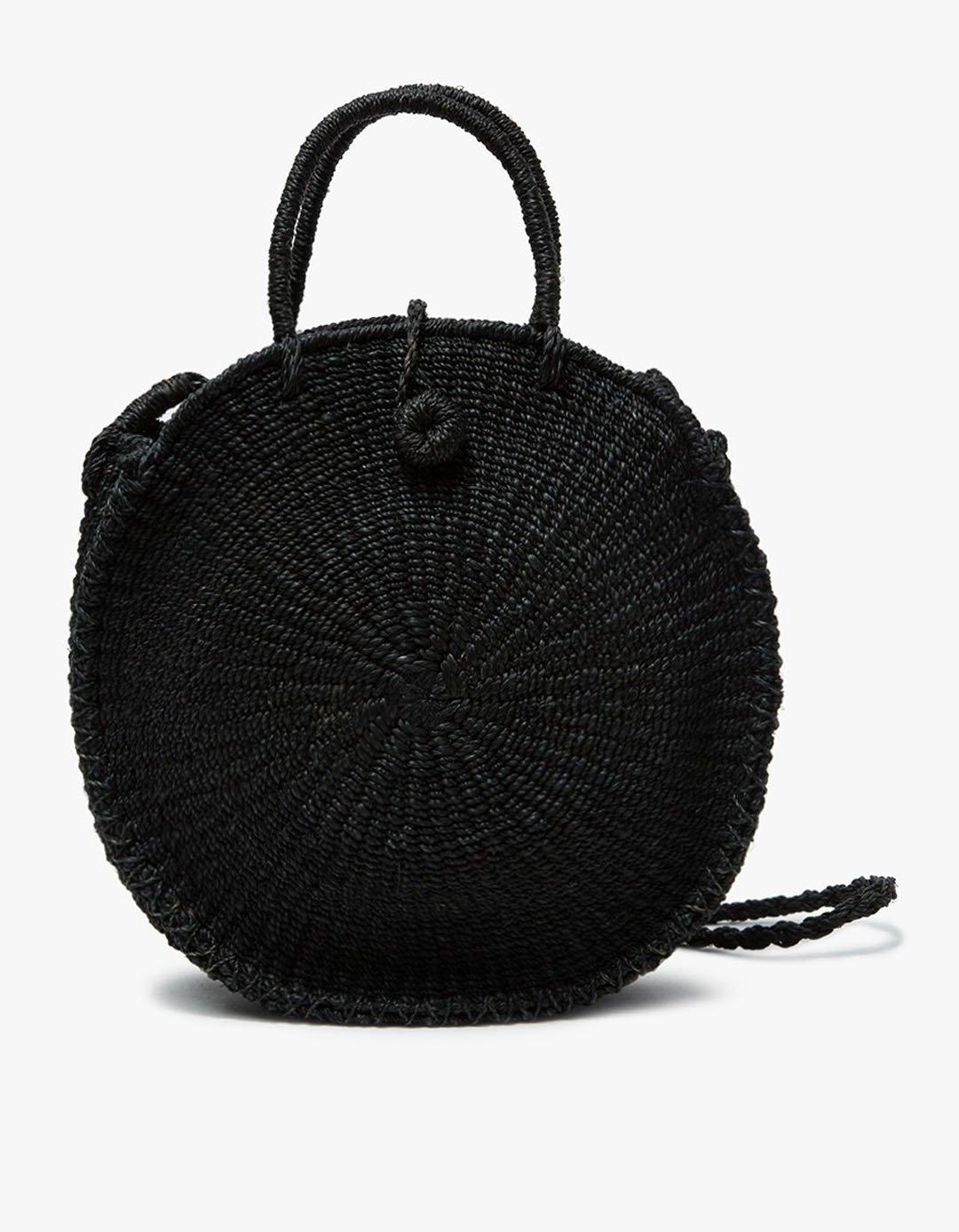 black round wicker bag