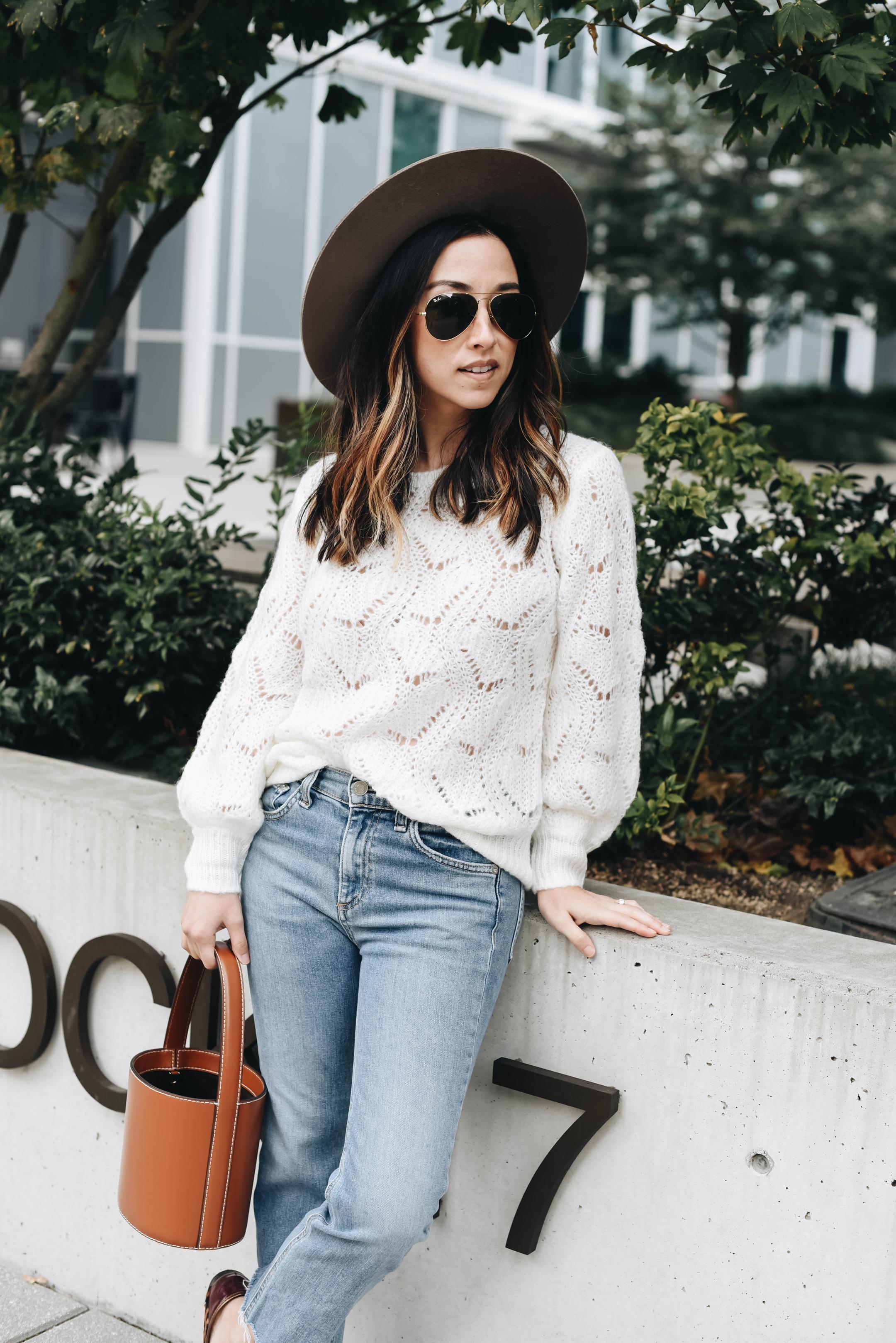 Halogen pointelle sweater