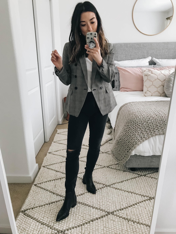How to style a plaid blazer