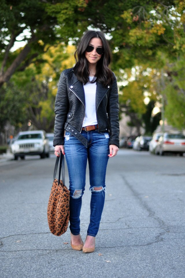 Ripped Jeans Leather Jackets Crystalin Marie