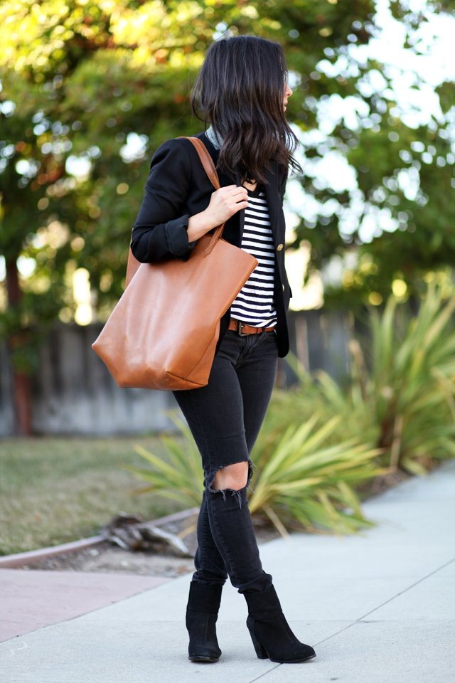 Cuyana short leather tote