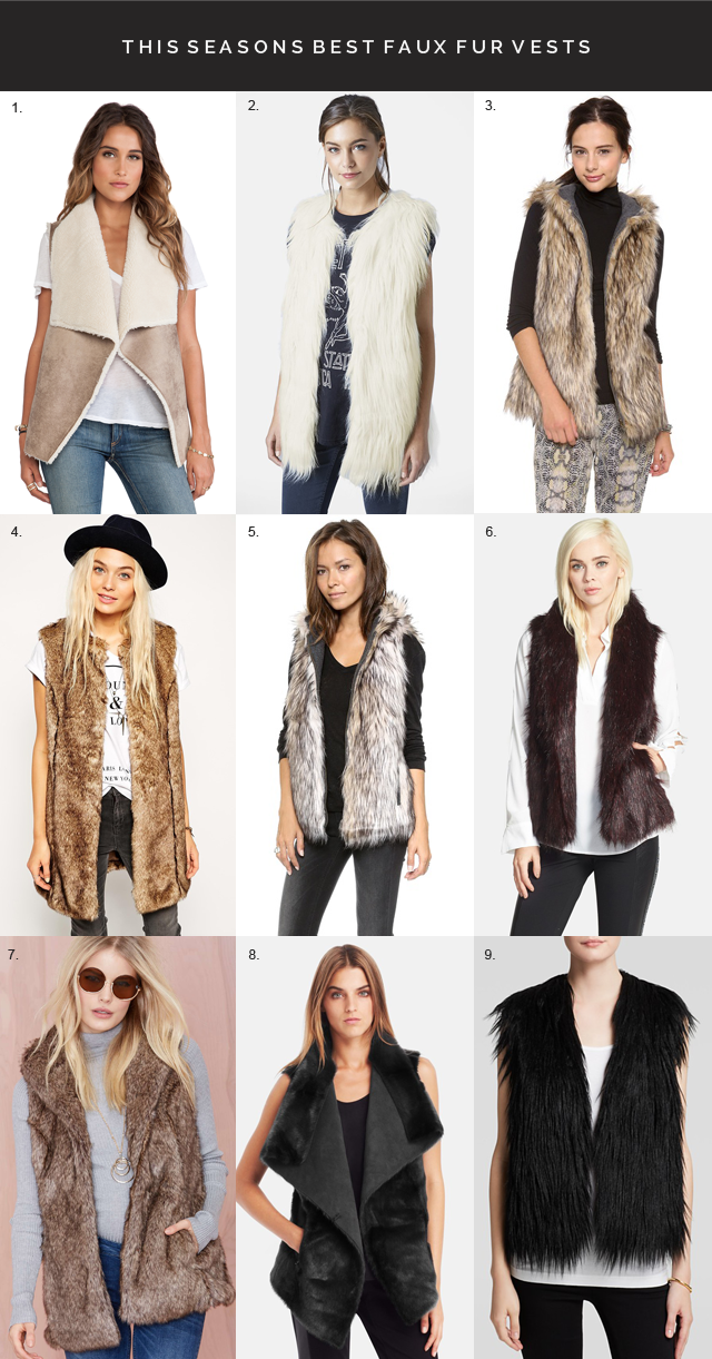 best faux fur vests