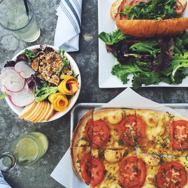 Market Salad and Flat bread