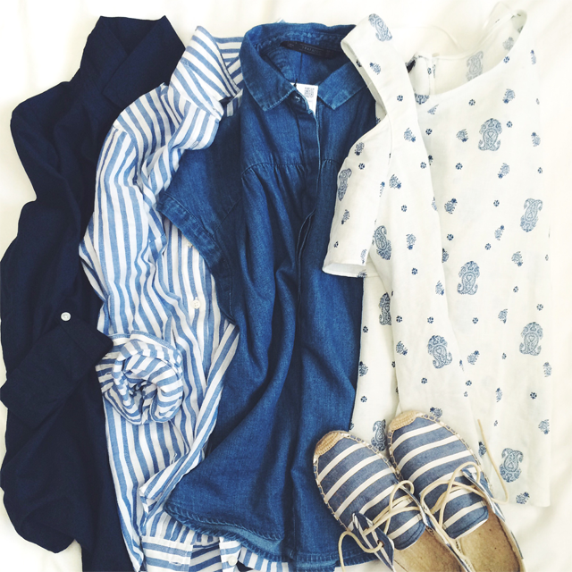 Blue striped soludos
