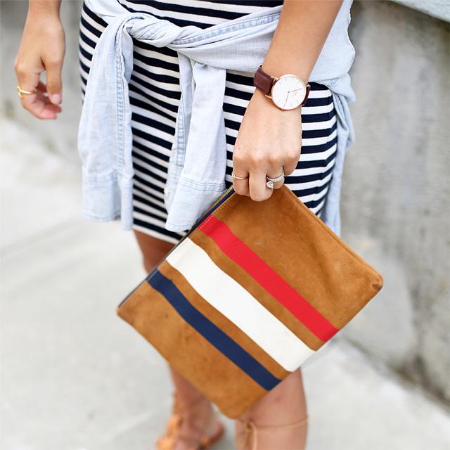 Clare Vivier striped flat clutch