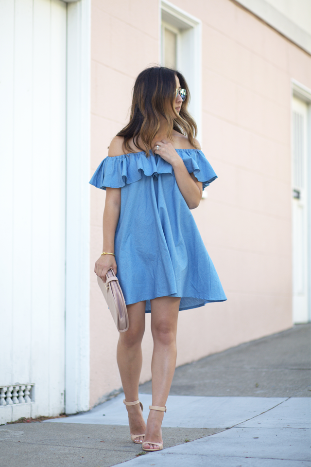 chicwish denim off the shoulder dress