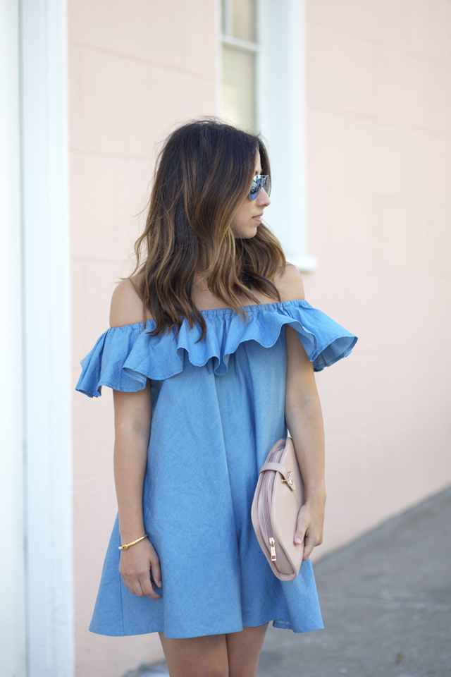 chicwish ruffle denim dress