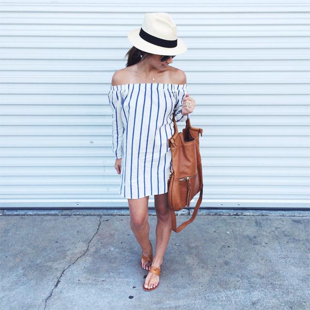 Asos striped OTS dress