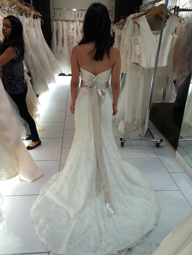 BLISS Monique Lhuillier Strapless Lace Wedding Dress back