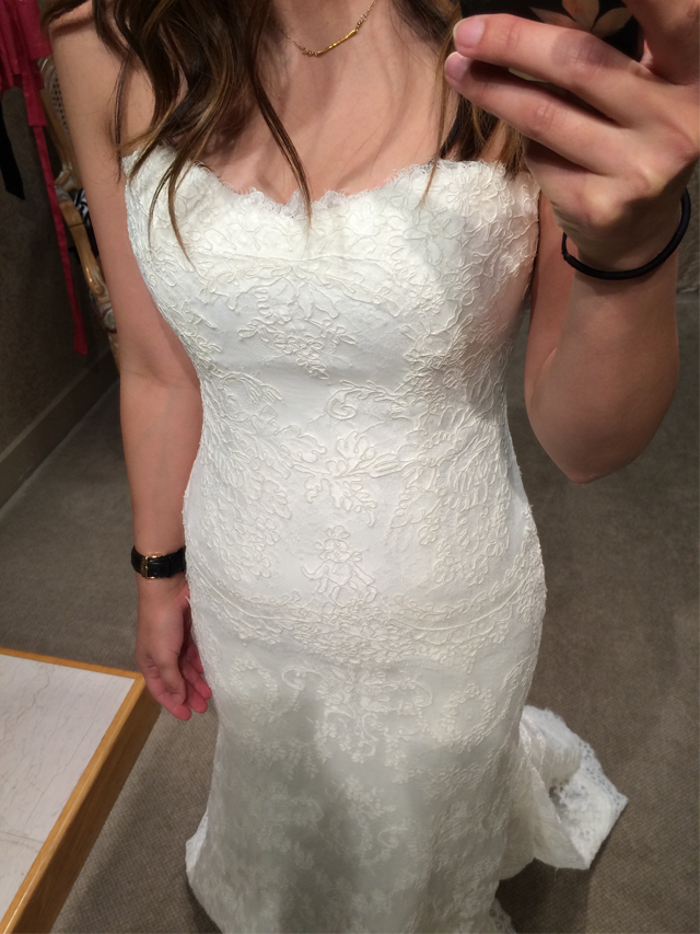 BLISS Monique Lhuillier Strapless Lace Wedding Dress details