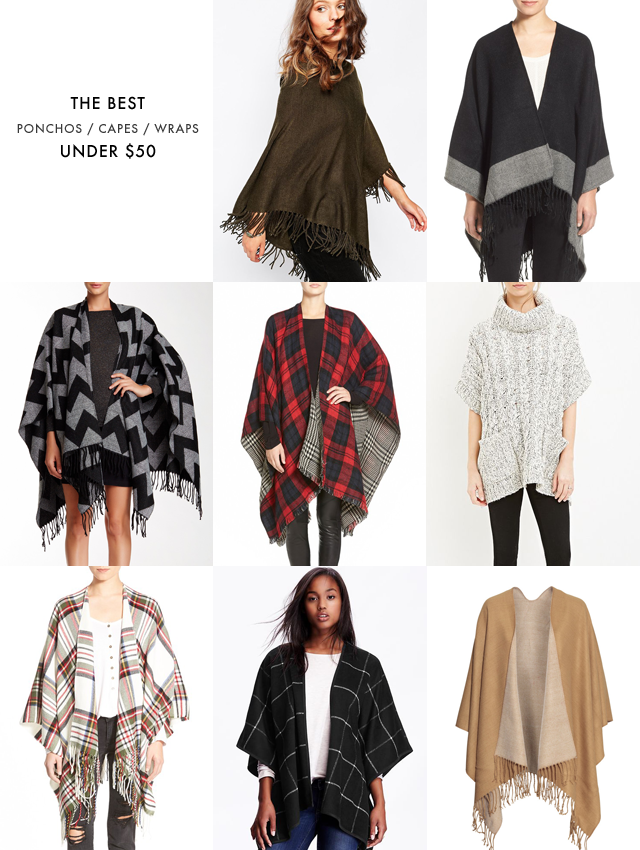 Ponchos and capes under $50
