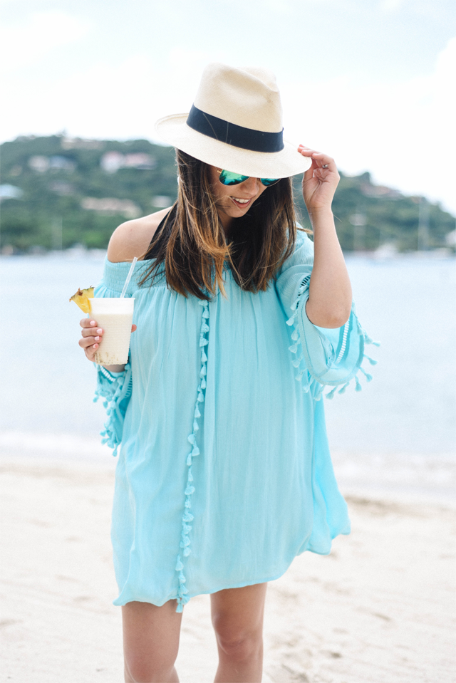 Aqua dress off the shoulder tassel mini