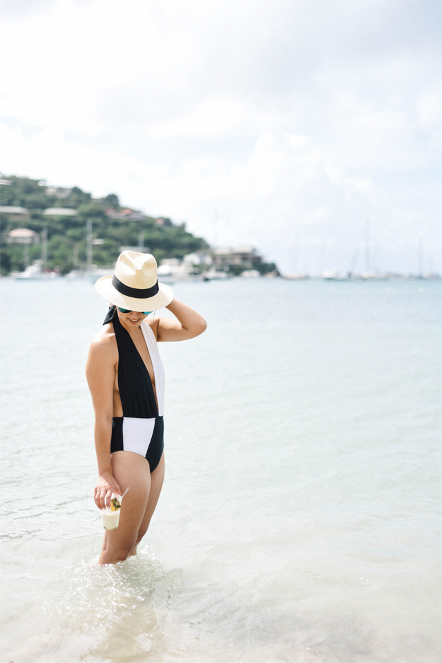 Asos monochrome plunge swimsuit