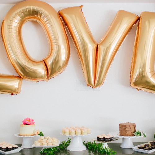 Dessert Bar with Gold Balloons