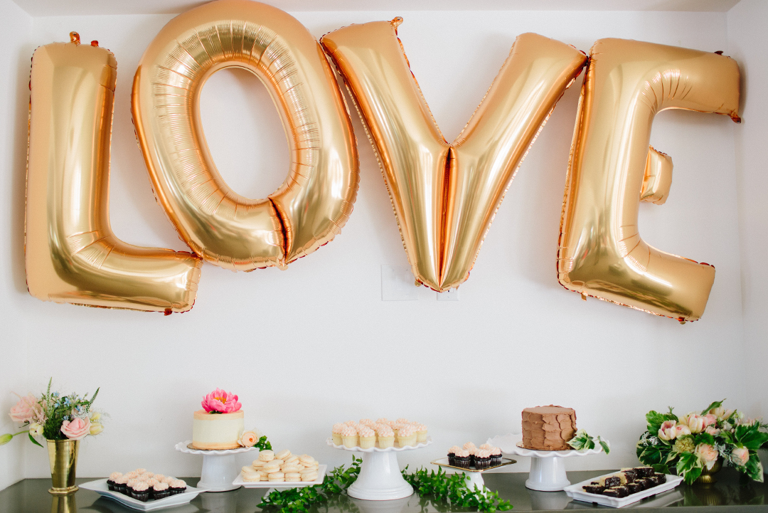 Dessert Bar with Gold Balloons