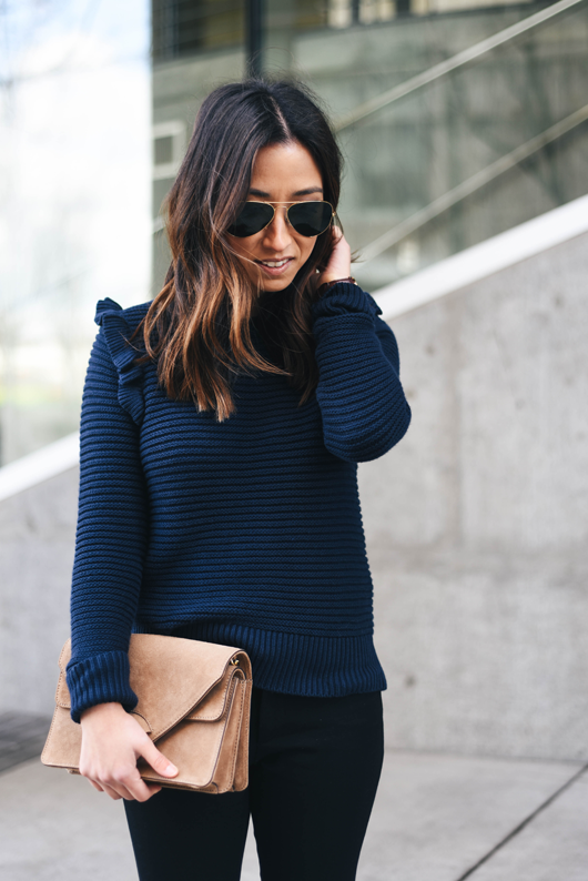 Banana Republic Navy Ruffle Pullover Sweater