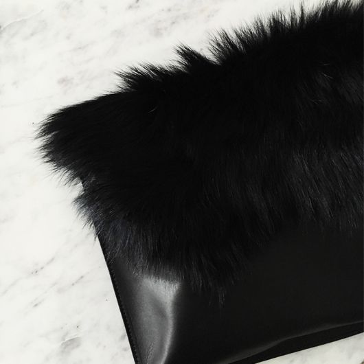 Topshop faux fur clutch