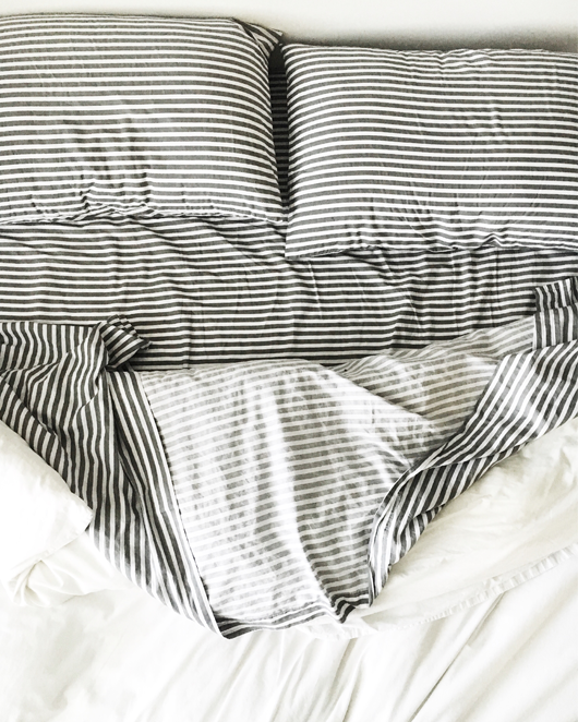 West Elm striped bed linens