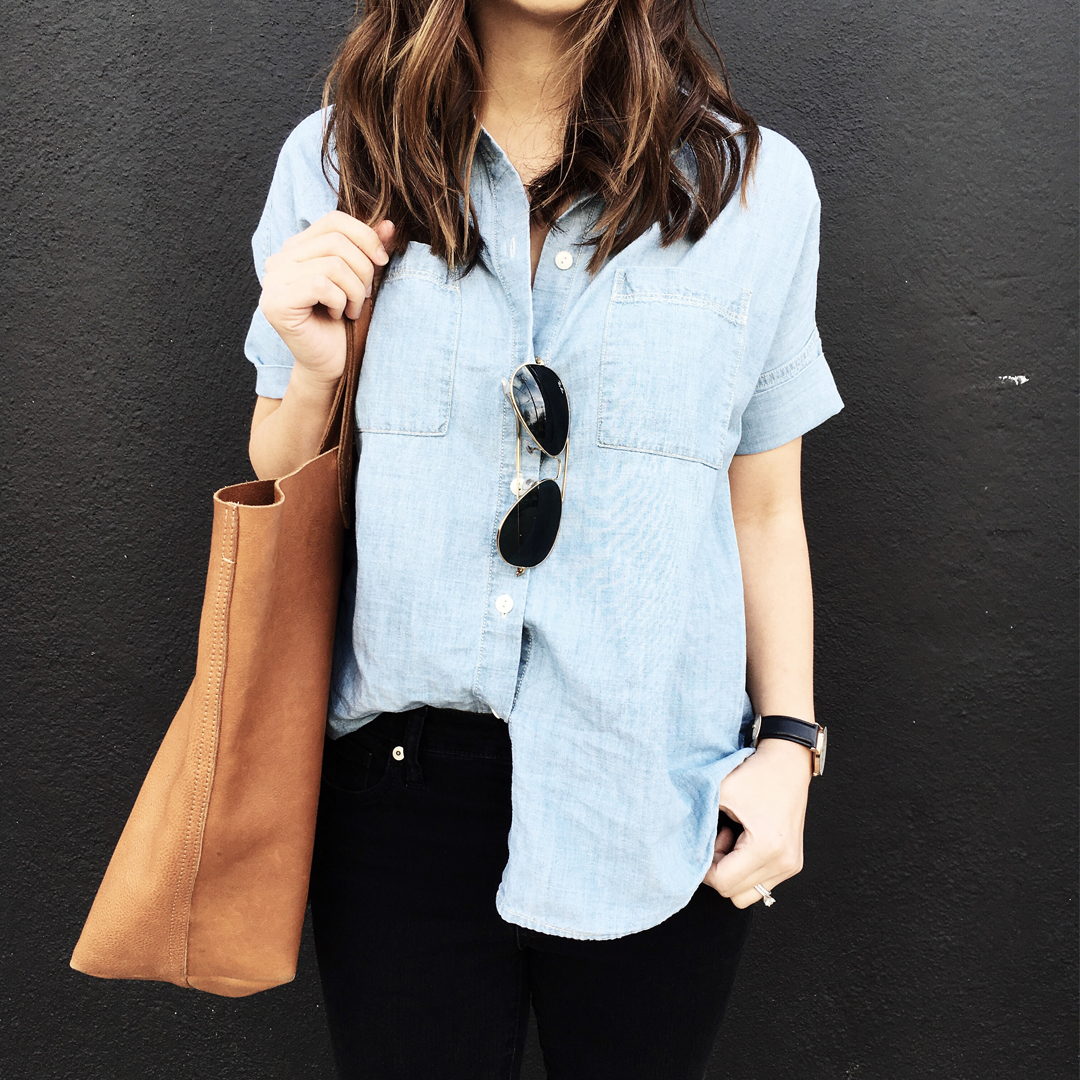 Madewell short sleeved chambray
