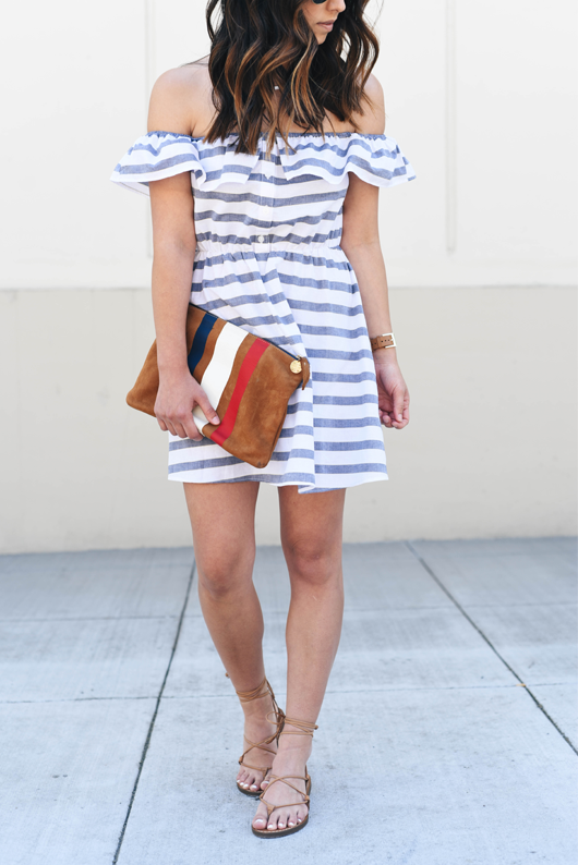 ASOS Bardot Stripe Button Front Beach Dress