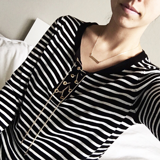Lace up stripe sweater