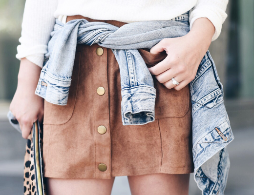 Boohoo tan suede button front skirt
