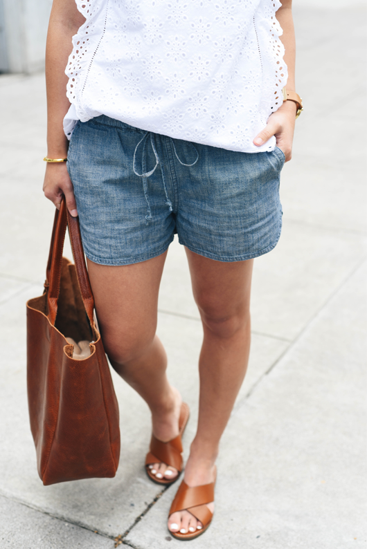 f560c373a87 Chambray shorts Calypso St. Barth cashmere cardigan. J.Crew chambray shorts