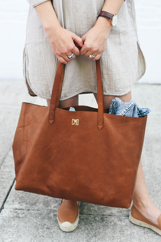 Madewell monogrammed east west tote