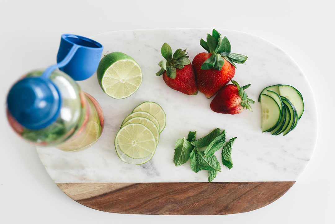 Strawberry, mint, cucumber, lime fruit infuse