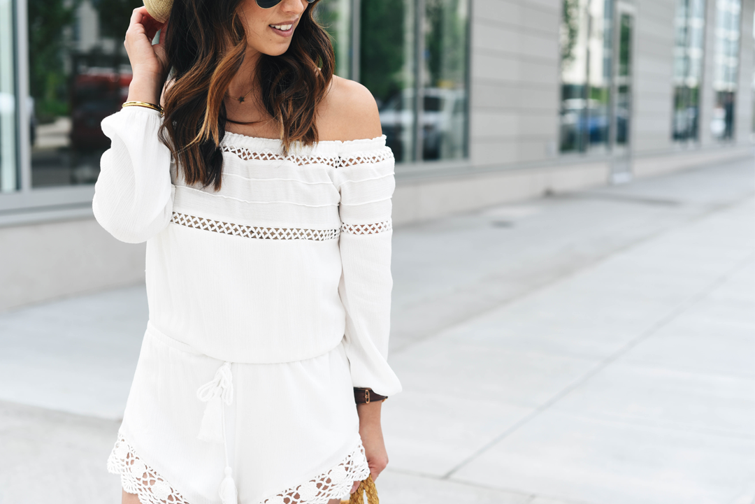 Sun and Shadow lace trim romper