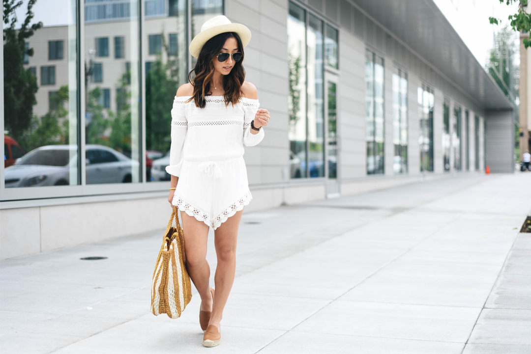 Sun and Shadow white lace trim romper